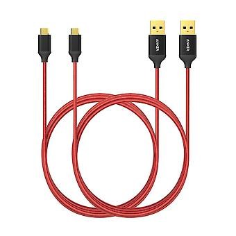 Anker micro câble usb nylon 1,8 m [2-pack] synchronisation à grande vitesse et câble de charge avec conne plaqué or