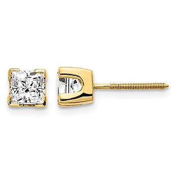 1.00 Carat (ctw I1, G-H) Princess Cut Diamond Solitaire Stud Earrings with Screwbacks in 14K Yellow Gold