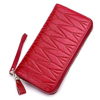 Genuine Leather Travel Purse, Zipper Wallet With 36-card Holder