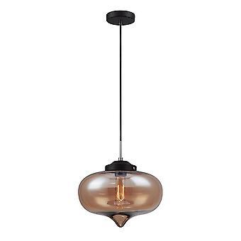 Italux Heart - Industrial y Retro Colgante Colgante Negro 1 Luz con Sombra Brillante, E27