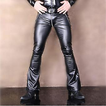 Low-waisted, Slim Flared Leather Zipper Trouser Pant