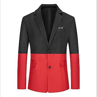 Mænd & apos;s Suit Ungdom Casual Color Matchende Single-breasted Slim Single Suit Jakke