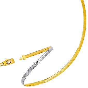 اثنين لهجة قلادة سلسلة أوميغا عكسها في 14 ك الأصفر الذهب والفضة، 5 مم