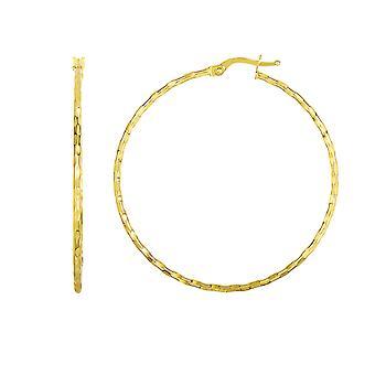 14K желтое золото блестящие раунда Хооп серьги, диаметр 45 мм