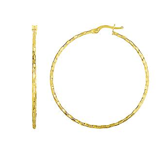 14K geel gouden glanzende ronde Hoop Earrings, Diameter 45mm