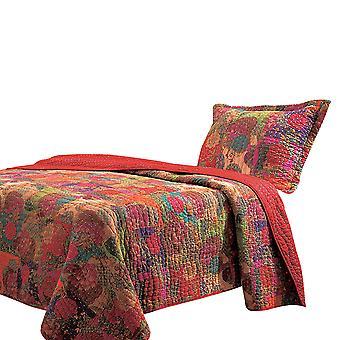 Tisa 2 piezas reversible doble conjunto de edredón con patrón floral y frutal, multicolor