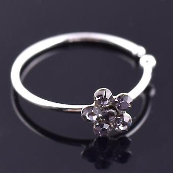 Unisex Plum Flower Rijnsteen Nose Stud Hoop Sparkly Nose Ring Body Piercing