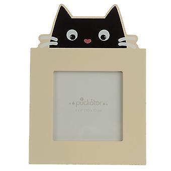 Decoratieve 4 x 4 houten fotolijst - katachtige fijne zwarte kat