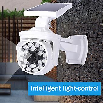 Solar Powered LED Wall Light Simulation Dummy Camera Toy PIR Motion Sensor Waterproof Outdoor Lamp