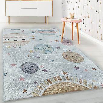 Alfombra infantil ShortFlower alfombra blanca planeta gris planeta espacio luna diseño alfombra infantil