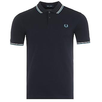 Fred Perry M3600 Twin Tipped Polo Shirt - Navy & Smoke Blue