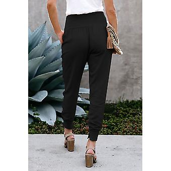 Womens Black Pocketed Cotton Joggers