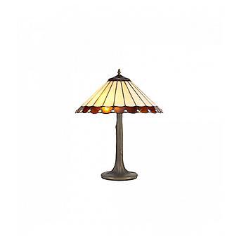 Lámpara De Mesa Tiffany Calais 2 Bombillas Ambar 10 Cm