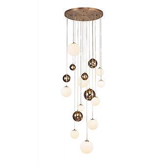 Lámpara Colgante De Diseño Conetti 16 Bombillas Cobre Antiguo 32 Cm