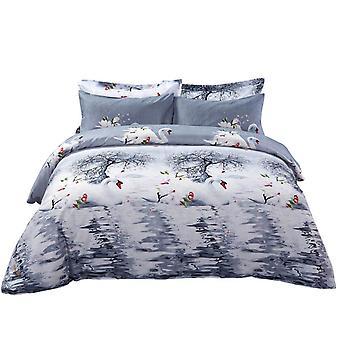 Conjunto de cubierta de edredón, ropa de cama pictórica king size, Dolce Mela - Mute Swan Dm705K