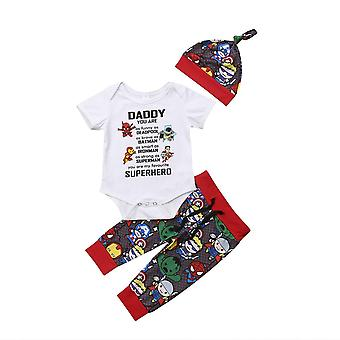 Nyfödda babykläder set superhjälte toppar Romper Long Pants Hat Outfits