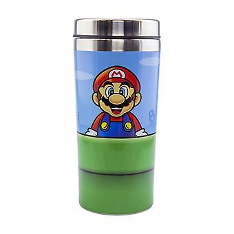 Super Mario Reisebecher Super Mario Warp Pipe Thermobecher blau/rot/gr³n/silberfarben, bedruckt, aus Edelstahl, Fassungsverm÷gen ca. 450 ml