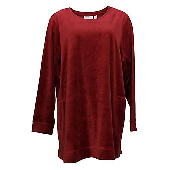 Denim & Co. Women's Plus Top Velour Long-Sleeve c/ Pockets Red A390299