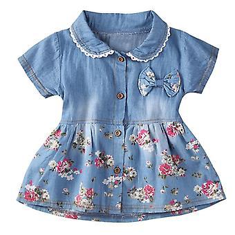 Denim mekko vauvalle, kukka prinsessa mekko