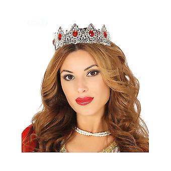 Volwassen rode steen zilveren prinses tiara