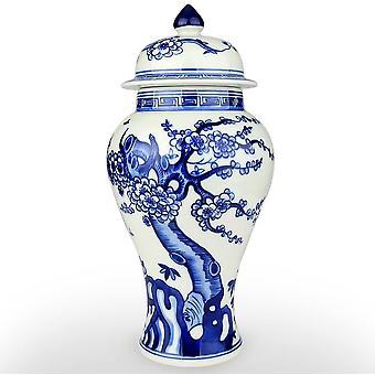 الأزرق والأبيض الخزف السيراميك معبد جرة زهرية