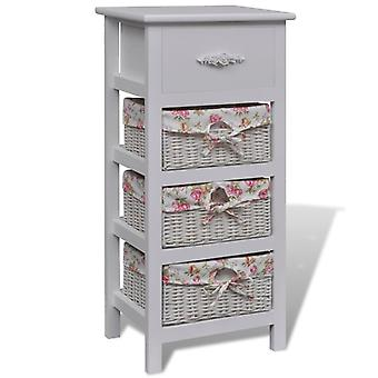 vidaXL basket chest of drawers with 1 drawer and 3 baskets white Paulownia wood