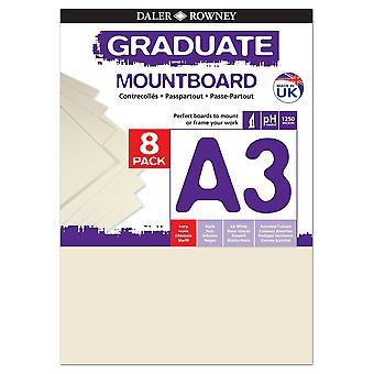 Daler Rowney Graduate Mount Board 8pk Elfenben A3