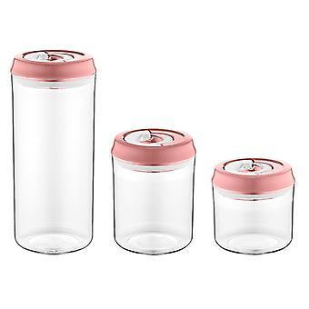 Herzberg vakuum förvaringsburk uppsättning - rosa