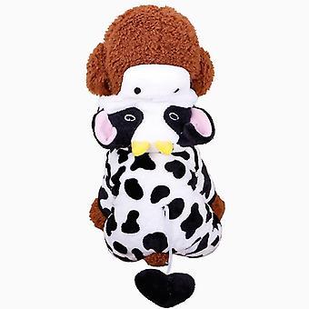 Koira kissa vaatteet syksy talvi koralli fleece lehmä lemmikki puku nelikulmaiset vaatteet
