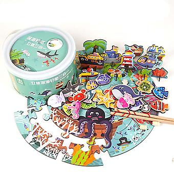 Wooden Magnetic Fishing Game Toys Jigsaw Puzzle Game