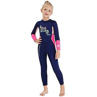 Girls Wetsuit Long Sleeve Diving Swimsuit with Safety Zipper Quick Dry One Piece Surf Suit for Water Sports