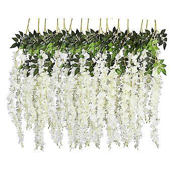 6 Opakowanie 3,75 stóp kawałek sztuczne fałszywe wisteria wisteria winorośli ratta wiszące girlanda x6477