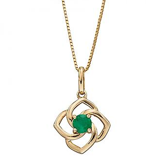 Elements Gold Cut Out Flower Emerald Yellow Gold Pendant GP2279G