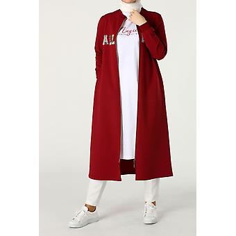 Zippered Embroidered Combed Cotton Cardigan