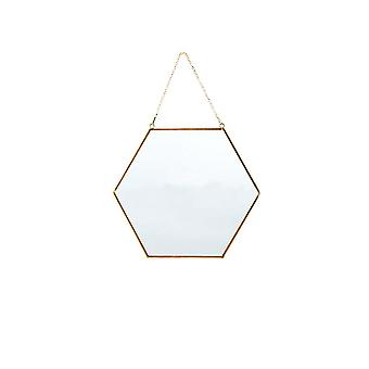 Doré 30x26cm vintage doré mural hexagonal maquillage miroir visage homi4015
