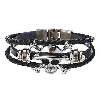 Punk Rock Skull Leather Bracelet Multilayer Bangle Wristband Halloween