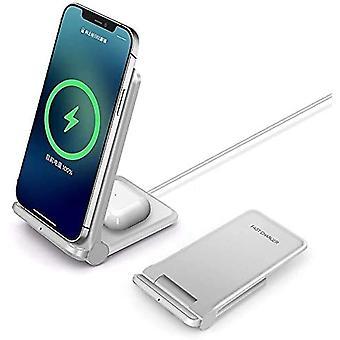 Bezprzewodowa ładowarka 20W, składana 2 w 1 bezprzewodowa stacja ładująca dla Samsung Galaxy S21 / S20 / S10 / S10 + / S9 / Note10 / Galaxy Buds; Podstawka do ładowarki bezprzewodowej 7,5 W do iPhone11/ X / XS / XR / XS Max / 8 / 8P / Airpods,(biały)