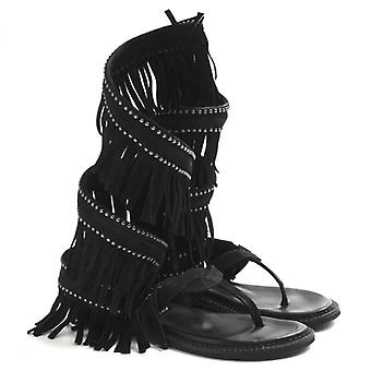Indian Sandal Flip Flops Zoe Cherokee In Black Suede With Fringe