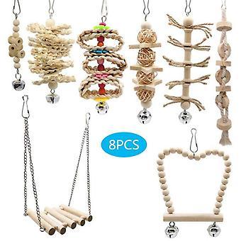 8 Pcs/set Bird Parrot Swing Chew Toys Natural Wood Hanging Bell Birds Cage Decor|Bird Toys