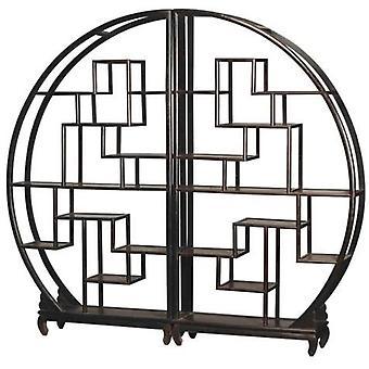 Прекрасный азиатскийживной китайский книжный шкаф круглый открытый шкаф черный W176xH192cm