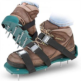 Mimigo Lawn Aerator Shoes/metal Buckles And 3 Straps - Heavy Duty Spiked Sandals For Aerating Your Lawn Or Yard