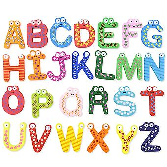 26 Alphabet Wooden Colorful Cartoon Fridge Magnet Letters Stickers