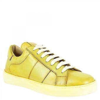Leonardo Shoes Women's handmade Sens sneakers shoes in green calf leather