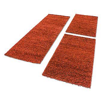 Bordure de lit Shaggy tapis set 3 teilig Hochflor Monocolore Terracotta