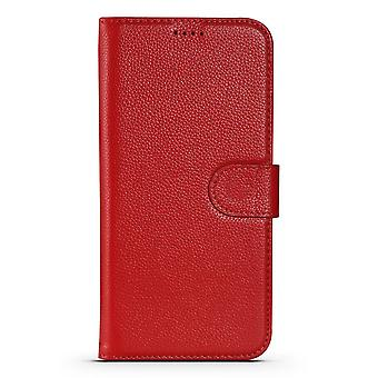 Para iPhone 13 Pro Max Case Fashion Cowhide Genuine Leather Wallet Cover Rojo
