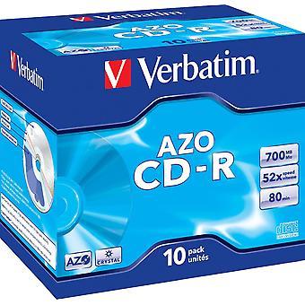 Szó szerinti CD-R, 52x, 700 MB/80 perc, 10 csomagos ékszerdoboz, AZO, Crystal