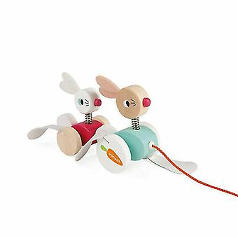 Wooden pegged puzzles zigolos pull-along rabbits?Crafted wooden toy?1 To 3 years