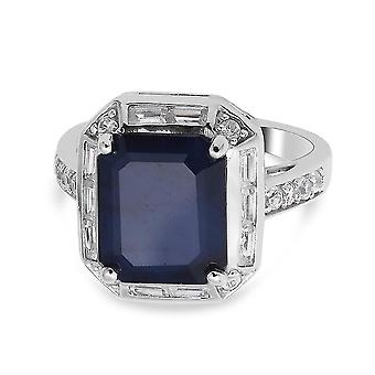 TJC Blue Sapphire Halo Ring Sterling Silver Anniversary Gift White Zircon 7.64ct(K)