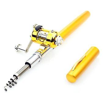 Tragbare Tasche Teleskop Mini Angelrute Stange Stift Form gefaltete Angelrute mit Rollenrad für