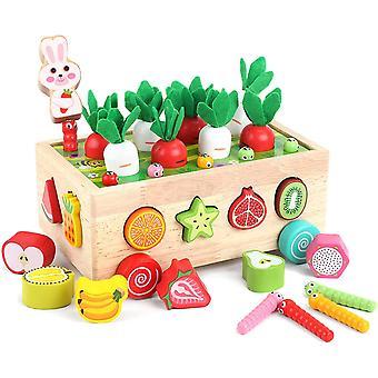 Brinquedos educativos de madeira infantil formam reconhecimento de cores Aprendendo brinquedo de carrinho para crianças